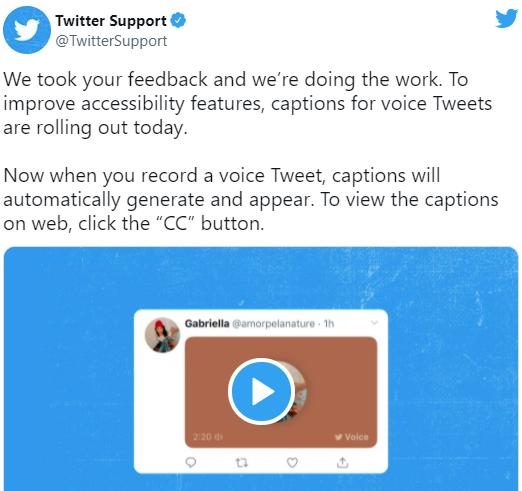 如何为语音推文使用 Twitter 的自动字幕